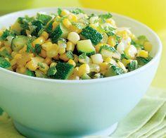 Corn, Sweet Onion & Zucchini Sauté with Fresh Mint - perfect for using all the fresh garden veggies