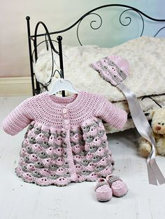 What's New - Crochet - Baby Matinee Jacket, Hat, Shoes
