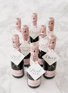 For a pretty pink wedding - miniature bottle of pink champagne would be perfect favors http://www.stylemepretty.com/2015/03/18/traditionally-elegant-rosemary-beach-wedding/