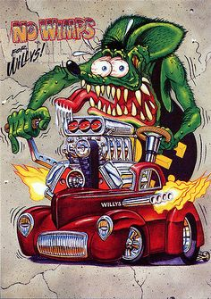 More great Rat Fink garage art! Rat Fink- No Wimps for Willys. Measures 14 x Printed on coated card stock. Ships well protected in a sturdy stay flat. I do combine shipping. Please ask any questions before buying. Rat Fink, Rat Rods, Ed Roth Art, Arte Cholo, Garage Art, Garage Signs, Pinstriping, Big Daddy, Automotive Art