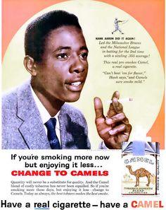 Hank Aaron for Camel Cigarettes Advertisement - Ebony Magazine, June, 1960