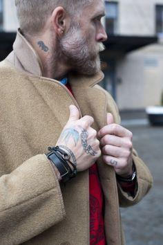 philip crangi- camel coat + bracelets of his own design