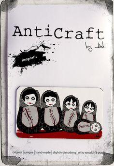 Zombie Babushka Doll Family Portrait Fridge Magnet by AntiCraft, $5.50