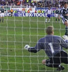 Finland 2 Germany 2 in June 2001 in Helsinki. Michael Ballack makes it 2-1 from the penalty spot in Group 9 of this World Cup Qualifier.