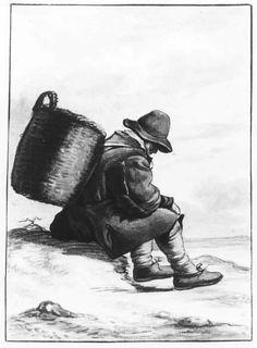 Negentiende-eeuwse Scheveningse dracht. Een visser zit met een mand op zijn rug op een duin. Hij draagt een slappe hoed, stropje, hemdrok, korsjak, jas, kniebroek met kousen en gestrikte schoenen. 1850 aquarel #ZuidHolland #Scheveningen
