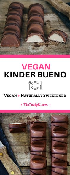 vegan recipes | naturally sweetened -- How many times since going vegan have you wished for a vegan version of your favorite treats? For all those likeminded souls out there, who have been craving a vegan Kinder Bueno, your dreams have come true!  -- Via  thetastyk.com #thetastyk, #vegan, #dessert, #kinderbueno