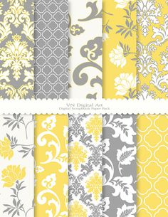 Digital Paper Damask Floral Digital Paper Pack by VNdigitalart