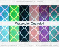 WATERCOLOR QUATREFOIL Digital Paper Commercial Use by ClipArtBrat