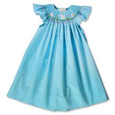 Dancing Bunny Turquoise Gingham Seersucker Angel Sleeve Smocked Bishop 16SP 5819ATQ