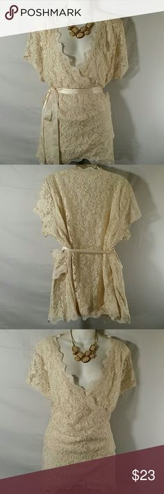 ?? Lace Blouse Top * Plus Size * Beautiful * Cream * Lined * Short Sleeve * Ribbon Belt Included * Rayon Nylon and Spandex * Bundle and Save * Maurices Tops Blouses
