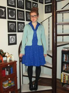 It's Fred Rogers' birthday so I felt the need to wear a cardigan today. I would have done the sneakers and chinos wi. Camo Dress, Shirt Dress, Striped Dress, Dress Black, Fred Rogers, Printed Dresses, Blue Cardigan, Black Tights, Oxfords