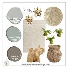 Ideas For Yoga Room Paint Colors Benjamin Moore Zen Interiors, Deco Zen, Zen Colors, Zen Room, Bedroom Paint Colors, Paint Colours, Reno, Home Interior, Interior Ideas