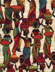 Timeless Treasures African Sunset Cream African Women at Market African Quilts, African Textiles, African Fabric, Afro, Timeless Treasures Fabric, Haida Art, Africa Art, African Women, Backgrounds