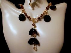 Black Button Bead with Brown Pearl, and Amber, Brown Crystal Dangle Necklace and Earring Set by Culbertscreations on Etsy
