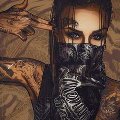 Welding the Punk into Cyberpunk : Photo Arte Dope, Dope Art, Body Art Tattoos, Girl Tattoos, Dope Kunst, Art Chicano, Gangsta Girl, Digital Art Girl, Skull Art