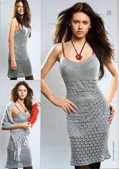 DIY: Crocheted Dress. Free scanned pattern.