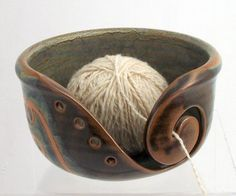 Knitting Bowl; love the colours, the design and subtle steampunk feel to it; raw & organic