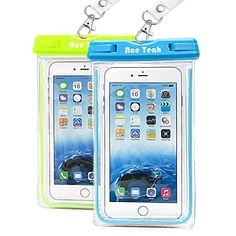 Waterproof Case, 2 Pack Ace Teah Clear Universal Waterproof Case, Dry Bag, Pouch, Transparent Snowproof Dirtproof for iPhone 7 6S Plus SE 5S 5C, Samsung Galaxy S7 S6 edge, Note 7 5 4 3 - Blue, Green