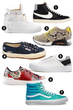 1. Nike Blazer Mid Vintage Sneakers, $100; barneys.com 2. Jon Buscemi Alta Sneakers, $890; jonbuscemi.com 3. Ash Love Printed Trainer Sneakers, $275; bergdorfgoodman.com 4. Superga 2750 SHRDJNSW Sneakers, $99; superga-usa.com 5. Helmut Lang Tin Low Top Sneakers, $395; helmutlang.com 6. Valentino Garavani Open Sneakers, $895; valentino.com 7. Vans Ombre Sk8-Hi Slim Sneakers, $60; vans.com