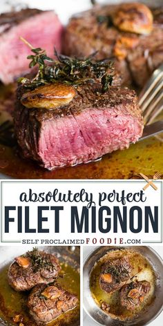 steak recipes Filet Mignon seared in garlic herb butter on the stove and finished in the oven is the best Filet Mignon recipe that turns about perfect every time! Grilled Steak Recipes, Meat Recipes, Cooking Recipes, Healthy Recipes, Filet Mignon Recipes Grilled, Steak Recipes In Oven Dinners, Good Steak Recipes, Cooking Fish, Game Recipes