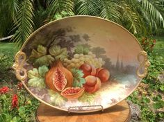 Huge Antique JPL Limoges Hand Painted Wall Platter Signed by Artist DURAND c1890
