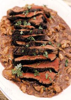 Grilled Elk with Chanterelle Sauce.