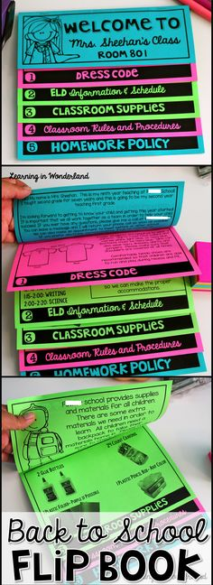 Impress your students and parents on Meet the Teacher night with this back to school flip book! This double sided flipbook requires no cutting or pasting! Just edit, copy, and fold. Back To School Night, 1st Day Of School, Beginning Of The School Year, Middle School, Classroom Rules, School Classroom, Classroom Ideas, Classroom Tools, Future Classroom