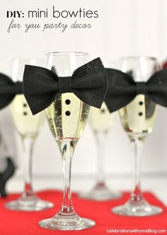 diy mini bow ties to dress up your champagne glasses. Perfect for a New Years Eve party! Party Fiesta, Nye Party, Festa Party, Oscar Party, Party Time, Movie Party, Soirée James Bond, James Bond Party, Hollywood Party