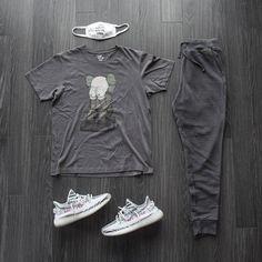 "@kicksnonymous on Instagram: ""kaws n effect . . tee   @uniqlo x @kaws joggers   @allsaints  kicks   @adidas yeezy boost zebra . . #outfitgrid #adidassador #WDYWTgrid…"""