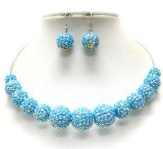 Multi Crystal Fireball Link Chocker Necklace Earring Set