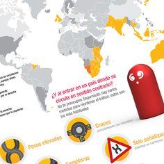 Infografía: el sentido de las carreteras según el país. #útil #Seguros #SeguroDeAutomovil #Segurauto #Segurnautas #Automovil #Infografia #coches