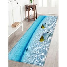 Fishes In The Sea Pattern Indoor Outdoor Area Rug - Lake Blue W24 Inch * L71 Inch