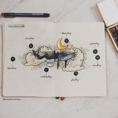 Tried something a little different this time - metallics! Kind of loving how this turned out. Still with my nautical theme, but this time… Bullet Journal 2019, Bullet Journal Books, Bullet Journal Themes, Bullet Journal Inspiration, Scrapbook Journal, Journal Layout, Bullet Journal Aesthetic, Art Plastique, Creations