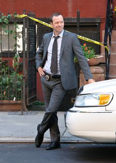 Donnie Wahlberg in Donnie Wahlberg filming scenes for the American TV show 'Blue Bloods'  He is stunning!
