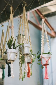 Chelsea Virginia and her hand woven, hand dyed hanging plants.