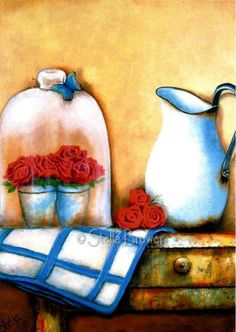 Art by Stella Bruwer white enamel pitcher blue and white cloth red flowers cloche with 2 small white pots of red flowers on shabby table with a drawer