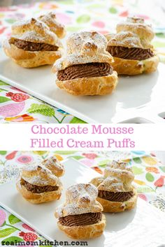 The filling in these chocolate mousse-filled cream puffs does not require any cooking. And it only takes a few ingredients to make. Cream Puff Filling, Cream Filling Recipe, Cake Filling Recipes, Cream Puff Recipe, Dessert Recipes, Chocolate Mousse Ingredients, Chocolate Mousse Cake Filling, Delicious Chocolate, Chocolate Recipes