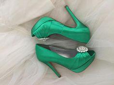 bd686043a3f Emerald Green Wedding Shoes Green Irish Wedding Platform