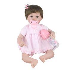 76.14$  Buy here - http://alifdg.worldwells.pw/go.php?t=32788847159 - Reborn Doll 17inch Silicone Reborn Baby Dolls 45CM Girl Baby Lifelike Newborn Baby Boneca Reborn Hobbies Doll Toys Brinquedos
