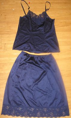Vanity Fair Camisole Set Blue Size 34 Top and Size Medium Half Slip #VanityFair $6.00 + $3.00 s/h