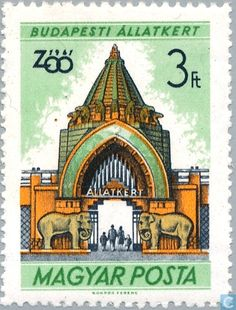 Sello: Entrance of Budapest Zoo (Hungría) (Budapest Zoo) Mi:HU 1700 Budapest, Zoo 2, My Heritage, Stamp Collecting, Eastern Europe, Postage Stamps, Elephant, History, World