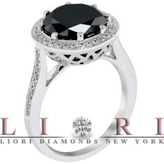 4.02 Carat Natural Black Diamond Engagement Ring 18K White Gold Vintage Style