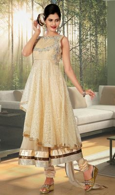 Unique attractiveness will come out from your dressing trend with this beige brocade tissue layered Anarkali suit. The brilliant dress creates a dramatic canvas with astounding lace, resham and stones work. Brocade might vary from actual image. #NewDesignerWear