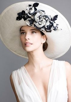White grazia sinamay picture hat with grazia hand made roses  Rachel Trevor-Morgan