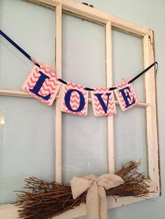 Love Banner - Wedding Reception Decoration - Bridal Shower Banner -  Wedding Garland - coral and navy Chevron