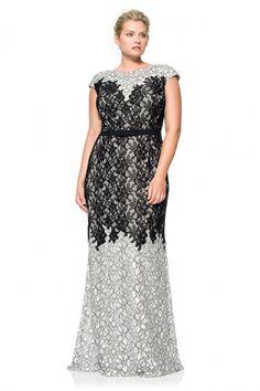 Contrast Lace on Georgette Cap Sleeve Gown - PLUS SIZE | Tadashi Shoji