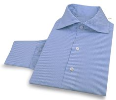 Luxire dress shirt constructed in Blue Cornflower Dress Stripes: http://custom.luxire.com/products/blue_dress_stripes_gtz49491  Consists of soft Roma cutaway collar with single button cuffs.