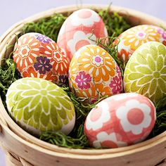 Dye-Free Easter Eggs! Use floral paper napkins and glue to cover ceramic eggs. (via parents.com)