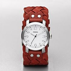 Another fun Fossil watch! Imogene leather watch in red.
