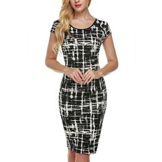 Angvns Elegant Women Printed Business Office Work Fitted Stretch Bodycon Dress | eBay